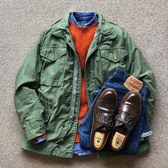 US military field jacket, denim shirt, orange sweater, jeans. Fringe Cowboy Boots, Military Field Jacket, Ivy League Style, Army Shirts, Rugged Style, Best Mens Fashion, Mens Clothing Styles, Military Fashion, Stylish Men