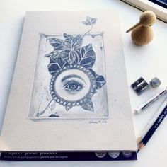 """Original Art: """"Still-life with lovers eye and ivy in a box"""" by ArtLisbethThygesen on Etsy"""