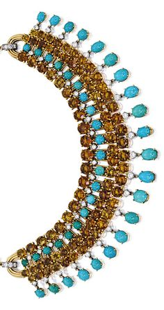 CITRINE, TURQUOISE AND DIAMOND NECKLACE, CARTIER, PARIS. The graduated fringe necklace composed of links, each set with circular-cut citrine and turquoise, embellished by brilliant-cut diamonds, completed by a gold link-chain, length approximately 385mm;  LIKE THE ONE MY NERTIE AND REINDEER GAVE ME!  Lola