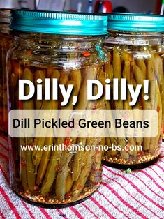 Just Slightly Spicy Dilly Beans Step-by-step for beginners Dilly Beans Canning Recipe, Canning Spicy Pickles, Easy Canning, Canning Tips, Homemade Pickles, Pressure Canning Recipes, Pickles Recipe, Spicy Pickled Beans, Spicy Green Beans