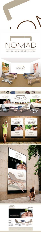 Tables Nomad  Un beau projet pour gosselin.com, créé un logo pour des tables de massage et de soins. Épuré, doux, un logo simple, mais qui dit tout. Des couleurs de cuir comme celles utilisées pour les tables.  Une suggestion de salle d'exposition pour le magasin à Laplaine et une autre suggestion pour celui de Laval, Allez Housses. Des affiches et une grande bannière.  Nous avons aussi proposé un concept pour le site Web (6e image) qui n'a pas été utilisé. Logo Simple, Laval, Site Web, Comme, Massage, Slipcovers, Leather, Store, Radiation Exposure