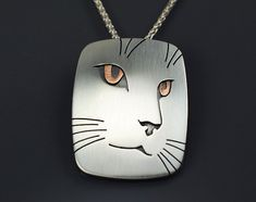 Cat Portrait Pendant Necklace - Sterling Silver and Copper Fox Jewelry, Gems Jewelry, Animal Jewelry, Metal Jewelry, Pendant Jewelry, Jewelry Design, Pendant Necklace, Precious Metal Clay, Peyote Patterns