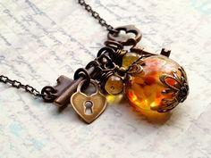 Gorgeous Vintaj Necklace with premium artisan glass focal bead