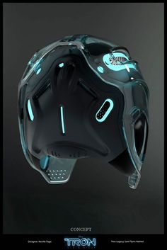 Tron Legacy_Garrett Hedlund helmet rear_Image Credit: Disney Enterprises, Inc. Vkook Memes, Tron Legacy, Futuristic Design, Futuristic Helmet, Futuristic Technology, Helmet Design, Mask Design, Motorcycle Helmets, Motocross