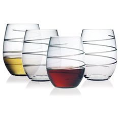 Susquehanna Glass Spiral Stemless Wine Glasses, Set of 4