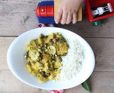 Recept voor kip met kerrie, fruit en bloemkoolrijst