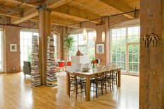 Exposed brick, coffered ceiling. Farmhouse Minimalist Design Ideas, Pictures, Remodel, and Decor - page 9