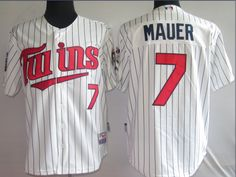 Mauer White 50th Jerseys $18.99  This jersey belongs to Minnesota Twins  Color:white size: M, L, XL, XXL, XXXL  The jersey is made of heavy fabric with nylon diamond weave mesh