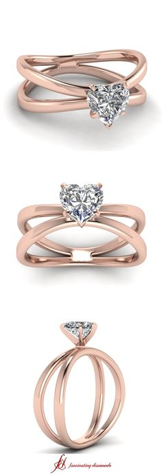 Butterfly Twist Ring ||  Heart Shaped Diamond Solitaire Ring In 14K Rose Gold
