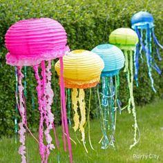 DIY Jellyfish Lantern from Party City Party Fiesta, Luau Party, Party Summer, Beach Party, Summer Pool, First Birthday Parties, First Birthdays, Birthday Ideas, Kid Parties