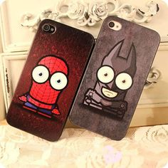 New Design Fashion Q Batman And Spider-man Hard Case Cover Skin For Iphone4 4S 5 US $12.99