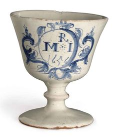 A LONDON DELFT DATED BLUE AND WHITE GOBLET | 1656, SOUTHWARK, POSSIBLY PICKLEHERRING QUAY | 19th Century Furniture, Sculpture & Works of Art Auction | armorial, goblets | Christie's