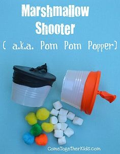 Pop Pom Popper:  Paper cups, balloons, pom, poms = fun and safe play