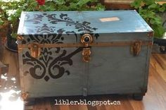 turquoise trunk with a flourish, painted furniture, repurposing upcycling, rustic furniture, storage ideas Repurposed Furniture, Rustic Furniture, Painted Furniture, Diy Furniture, Furniture Storage, Trunk Makeover, Furniture Makeover, Painted Trunk, Wooden Trunks