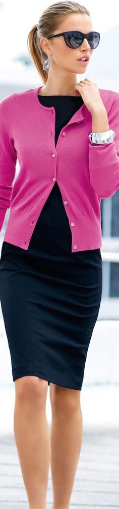 Purple cardigan, black tight pencil skirt. Formal office work #women #fashion outfit #clothing style apparel @roressclothes closet ideas