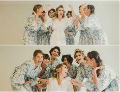 Noiva e madrinhas no making of - Casamento vintage