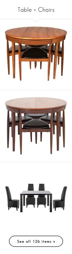 """""""Table + Chairs"""" by selene-cinzia ❤ liked on Polyvore featuring home, furniture, chairs, dining chairs, olsen, compact dining set, compact table and chairs, teak furniture, teak dining chairs and brown"""