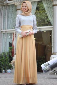 Mevra Gold Mavi Tüluğ Elbise