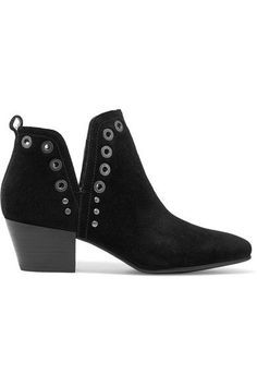 Heel measures approximately 55mm/ 2 inches Black suede Pull on ImportedLarge to size. See Size & Fit notes.
