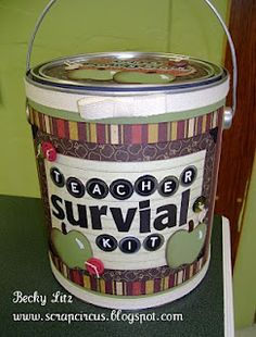teacher gift...can be relabeled for any occasion. Empty paint cans available at home improvement stores