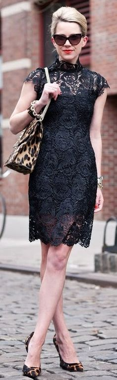black lace dress and leopard heels