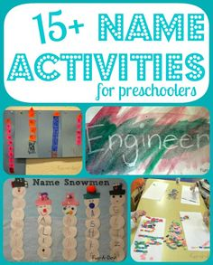15+ Name Activities for Preschoolers from Fun-A-Day! Fun, engaging, meaningful ways for preschoolers, as well as kindergartners, to learn their names!