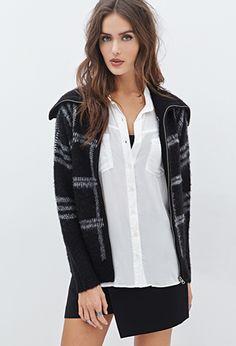 Fuzzy Plaid Shawl Collar Jacket   FOREVER 21 - 2000119969