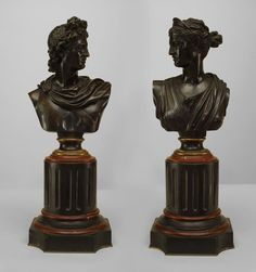 French Victorian figure bust bronze
