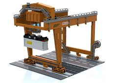 The Rail Mounted Gantry Crane - Trend Lego Box 2020 Lego Track, Small Ladder, Lego Boxes, Cable Reel, Crane Design, Gantry Crane, Lego Projects, Lego Moc, Train