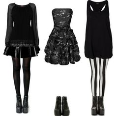 Nu Goth. Love the first outfit best. <3