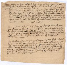 Salem, Mass 'Mary Walcot affirmed to the Jury of Inquest: that Ann Foster: of Andover: has afflicted her' [Persecuted, convicted, exonerated: Ann Foster, great grandmother] Salem Mass, Salem Witch Trials, Slice Of Life, The Fosters, Ann