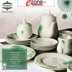 Buy 24 Pieces Tea Set ( Green Shaded ) in Fine Porcelain