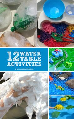Some great sensory play activities you can do with a water table - indoors and outside!