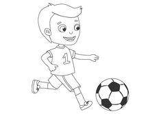 Dibujo para colorear de un niño jugando al fútbol Bart Simpson, Snoopy, Fictional Characters, Boys Playing, Parks, Fantasy Characters