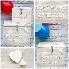Houten Enveloppenkist | Wooden Envelope box  Houten letters aan de voorkant van de kist. De houten letters zijn ook beschikbaar in de kleur: hout & zwart