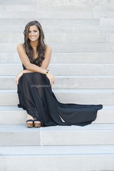 Senior portrait girl | senior portraits formal dress. |  senior portrait posing on steps | dallas senior portrait photographer Cindy Swanson Photography