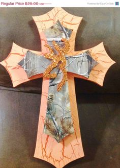 15off SALE Camo Browning Themed Cross by TheCrossedCupcake on Etsy, $21.25