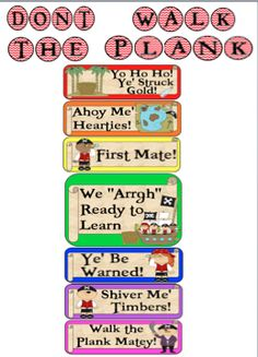 """Pirate Themed Behavior Clip Chart Set You """"Arggh"""" going to love this clip chart set. This behavior system promotes positive behavior in the classroom. This pack includes:  * Pirate Themed Clip Chart Behavior System (includes 7 colors: green, blue, purple, rainbow, yellow, orange & red)  * Awards for reaching the top of the chart in color and black & white to save ink.  Simply download, print, laminate.   Follow me on TPT for fun and exciting products and FREEBIES!"""