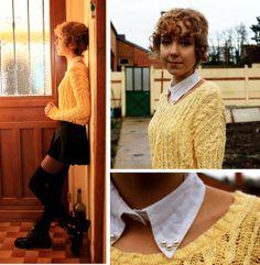 Sandro Yellow Sweater, Diy White Collar, High Socks, Jessica Buurman Cut Out Boots