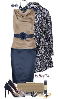 """Khaki and Blue"" by kelley74 ❤ liked on Polyvore"
