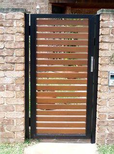 Eureka Fencing And Gates Gate Wall Design, Front Gate Design, House Gate Design, Fence Design, Door Design, Timber Gates, Wooden Gates, Wood Fence Gates, Barn Door Latch