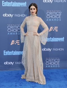 Lily Collins in Elie Saab Haute Couture at the 22nd Annual Critics' Choice Awards in Los Angeles.