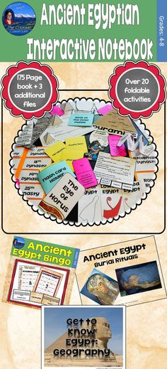 This Ancient Egyptian Interactive Notebook is 175 pages and also includes 3 additional resources to assist in your teaching of the material. It's divided into 11 sections and features over 20 foldable activities and 5 readings.