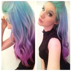 Mermaid!!!! Mint to pastel blue to lavender
