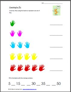 I like this, and I also think painting hand prints on large paper would be fun to, and works the same way! 1st Grade Math, Kindergarten Math, Grade 1, Teaching Activities, Teaching Kids, Counting In 5s, Year 1 Maths, Hand Prints, Math Numbers