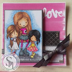 Designed by Mari.  Sisters by Tiddly Inks Colored with Spectrum Noir Markers  Skin: FS2,FS4, FS9 & TN4 1st Girl: EB5,TN7, TN5 DR7, DR6, DR4 IG5, IG3 & IG1 Middle Girl: EB8, EB3 &TN3 BGR5, BGR4 & BGR3 DR6, PP5 & PP4 IG3 & IG1 3rd Girl: IG10, IG8 & IG6 CT4, CT3 & LY2 CR8, PP5 & PP4 Background: TB4, TB3, TB2, TB1 IG5, IG3 & IG1. #spectrumnoir #challenge #tiddlyinks #love #card #craft