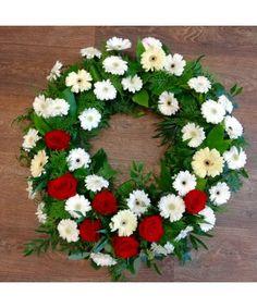 Coroana rotunda flori albe si rosii Funeral Bouquet, Gerbera, Christmas Wreaths, Floral Wreath, Holiday Decor, Floral Crown, Flower Crowns, Flower Band, Garland