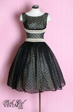 1950's Black & White Party Dress by daphne