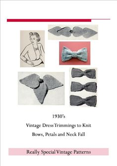 KNIT BOWS Collection 1930s Vintage Knitting Pattern Dress Trimmings PDF // stockinette with garter stitch border