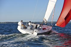 In spite of her racy looks, the Pogo 30 is marketed as a cruising yacht